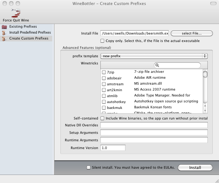 HOWTO: BeerSmith on a Mac with Wine - Home